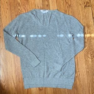 Everlane Grey Cotton Ribbed Vneck Sweater
